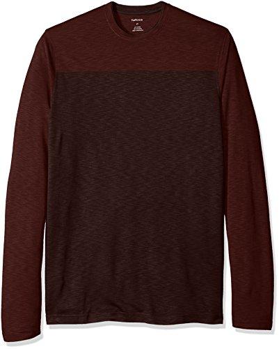 Van Heusen Men's Big and Tall Long Sleeve 2 Tone Slub Doubler Crew Shirt, Red Pinot Noir, 2X-Large ()