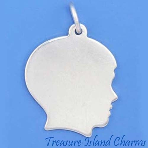 - BOY Silhouette ENGRAVABLE .925 Solid Sterling Silver Charm Pendant New Ideal Gifts, Pendant, Charms, DIY Crafting, Gift Set from Heart by Wholesale Charms
