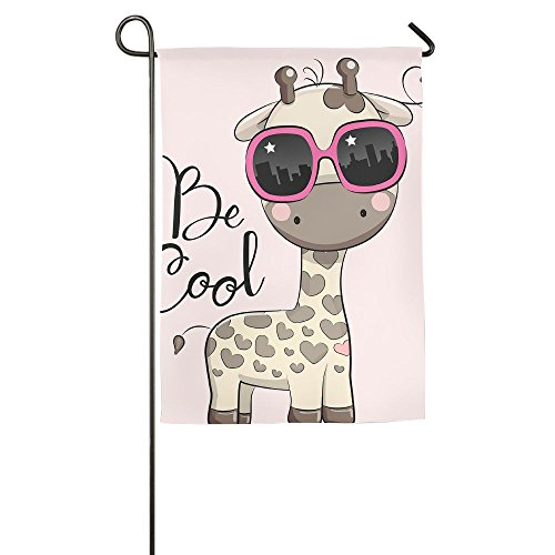 WYIZYIQA Cute Giraffe With Sun Glasses Garden Flag Yard Deco