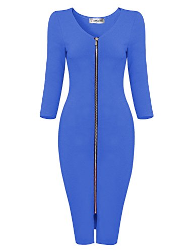 phisticated Front Zipper Long Sleeve Bodycon Midi Dress TWCWD128-BLUE-US M (Black Zipper Dress)