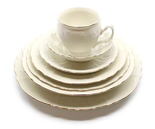 - Royalty Porcelain Vintage Antique 28-pc Dinnerware Set 'Bernadotte Ivory Gold', Bone China Porcelain
