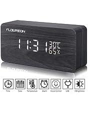 Despertador Digital, FLOUREON de Madera LED, Mesa Reloj Calendario/Tiempo/Temperatura/humeded/Sensor de Sonidocon 3 Alarmas programables, Doble Potencia, Control de Voz (marrón)