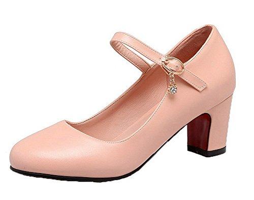 Luccichio Puro Tonda Medio Tacco Rosa Ballet Donna Punta Fibbia VogueZone009 Flats 0wxnfqY0