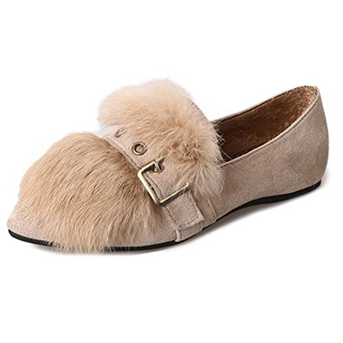 With Toe Women COMFRT Belt Fur Shoes Loafers Warm T On Buckle JULY Synthetic Beige Slip Flat Pointed wqSAnXtp