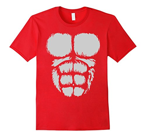 [Men's Gorilla Chest T-Shirt Funny Halloween Costume 3XL Red] (Funny Gorilla Costume)