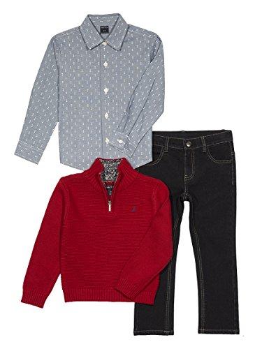 Boys Quarter Zip Sweater (Nautica Baby Boys' Quarter Zip Sweater, Long Sleeve Shirt and Denim Pant Set, Red Rouge, 18 Months)