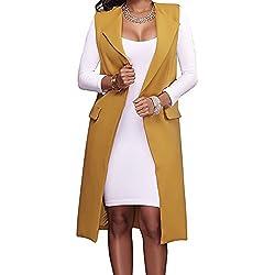 Hestenve Women's Solid Lapel Long Suit Waistcoat Vest Trench Coat Sheath Cardigan Jacket Yellow Medium