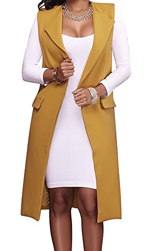 Hestenve Women's Solid Lapel Long Suit Waistcoat Vest Trench Coat Sheath Cardigan Jacket Yellow Medium