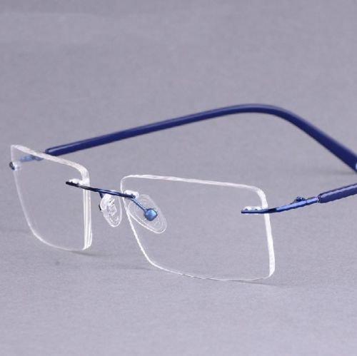 769ba39da2 Blue 3 Colors Titanium-alloy Rimless Tortoise Shell Eyeglass Frame  Spectacles Rx  Amazon.ca  Clothing   Accessories