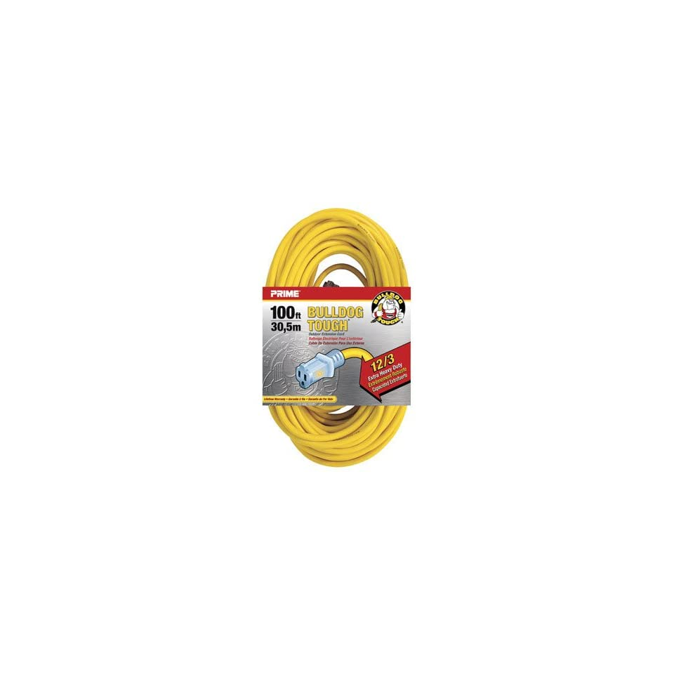 Prime Wire & Cable LT511835 100 Foot 12/3 SJTOW Bulldog Tough Extension Cord with PrimeLight Indicator Light, Yellow
