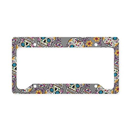 CafePress - Sugar Skull Halloween Grey License Plate Holder - Aluminum License Plate Frame, License Tag Holder