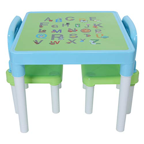 Sallymonday Kids Table and Chairs Set Family Time, Toddler Activity Chair Best for Toddlers Reading, Train, Art Play-Room Little Kid Children Furniture Accessories – Plastic Desk (Light Blue)