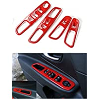 Dwindish Red ABS Interior Door Armrest Window Lift Button Cover Trim for Jeep Renegade 2015-2017