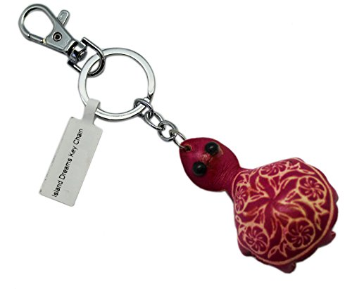 Pink Colored Bonded Leather Black Eyed Turtle Keychain