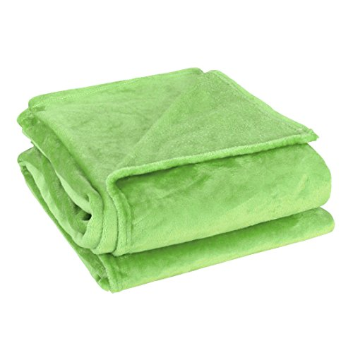 Lime Throw (uxcell Super Soft Warm Rug Luxury plush Fleece Throw Blanket, Suitable for Chair or Bed, Machine Washable,Lime Green, 150 x 200 cm (59