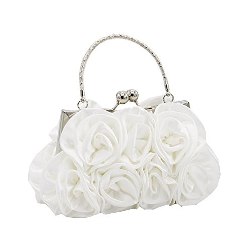 Kingluck Silk Shell with Flower Evening Handbags/Clutches/Top Handle Bags More Colors Available (white)