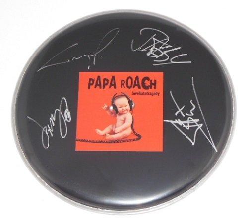 papa-roach-last-resort-group-signed-autographed-ebony-drum-skin-drumhead-loa