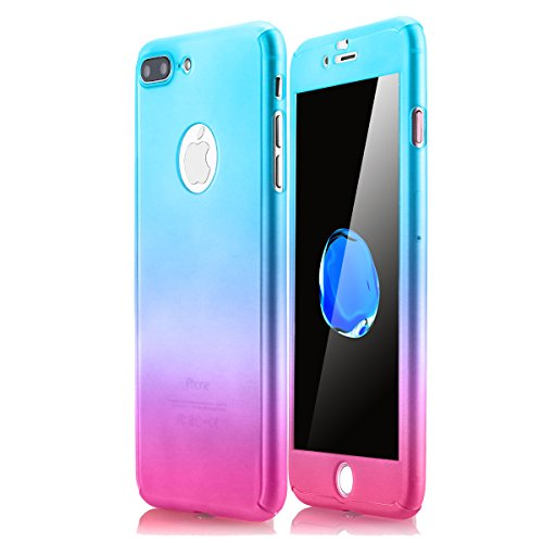 iPhone 7 Plus Case,AICase Ultra Thin Full Body Coverage Protection Soft PC [Dual Layer][Slim Fit] Case with Tempered Glass Screen Protector for iPhone 7 Plus (Blue/red)