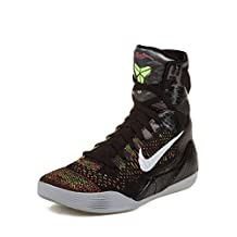 "Nike Mens Kobe IX Elite ""Masterpiece"" Black/Metallic Silver-Volt-Bright Crimson Woven Basketball Shoes Size 8"