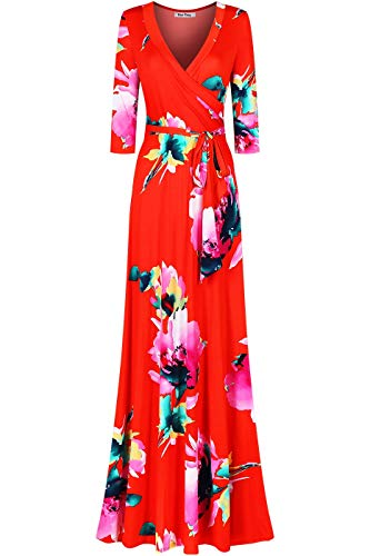 Quarter Sleeve Wrap - Bon Rosy Women's #MadeInUSA 3/4 Sleeve V-Neck Printed Maxi Faux Wrap Floral Dress Summer Wedding Guest Party Bridal Baby Shower Maternity Nursing Orange L