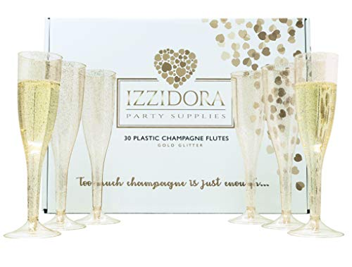 Wedding Party Toasting Flute - 30 Premium GOLD Glitter Plastic Champagne Flutes 6.5 oz Tall Elegant Wedding Party Toasting Glasses +Bonus Bubbly Bar Sign -Clear Glass like Classicware cups Soda Mimosas Wine Cocktail parties