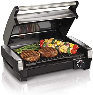 Hamilton Beach Electric Indoor Searing Grill Removable Easy-To-Clean Nonstick Plate, 6-Serving, Extr