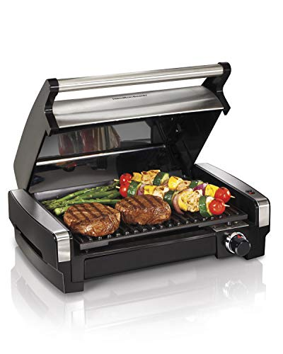 Hamilton Beach 25360 Indoor Searing Grill with Removable Easy-to-Clean Nonstick Plate, Extra-Large Drip Tray, Stainless Steel (Best Way To Bbq Hot Dogs)