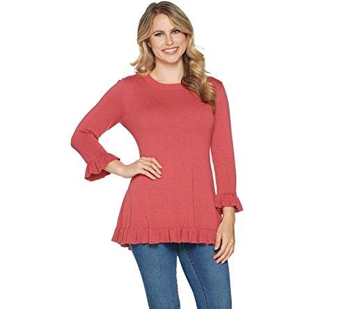 Isaac Mizrahi 3/4 Sleeves Peplum Sweater Ruffle Hem Desert Rose S New A294255