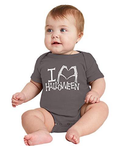 I Heart Halloween - Skeleton Hands Bodysuit (Charcoal, Newborn) ()