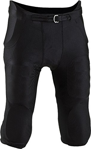 Youth 7 Piece Pad (Riddell Boys Integrated Football Pants, 7 Pads and Belt, youth (Black, Medium))