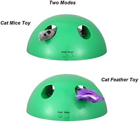 Shydie Cat Interactive Motion Toys, Cat Feather Mice Teaser Toys with Smart Electronic Random Moving Feather and Mouse, Newest Cat Teaser Toys for Cats and Kittens, Best Gift 3