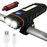 Bonnevie USB Rechargeable Bike Light Set, 4000mAh Power Bank 500 Lumen Powerful Waterproof Mountain Bicycle Headlight and Taillight Set Super Bright Bike Front Light and Rear Light for Cycling Safety