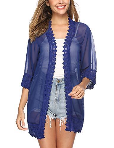 Aibrou Womens Kimono Casual Cardigan Half Sleeve Boho Lace Cover UP Blue Large