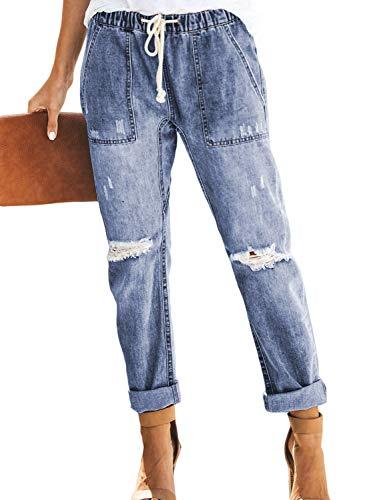 GOSOPIN Women Drawstring Elastic Waistband Loose Pants Distressed Denim Jeans Small Sky Blue ()