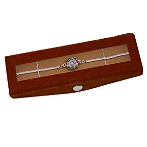 NINE10 Silver Bracelet Rakhi With Velvet Gift Box