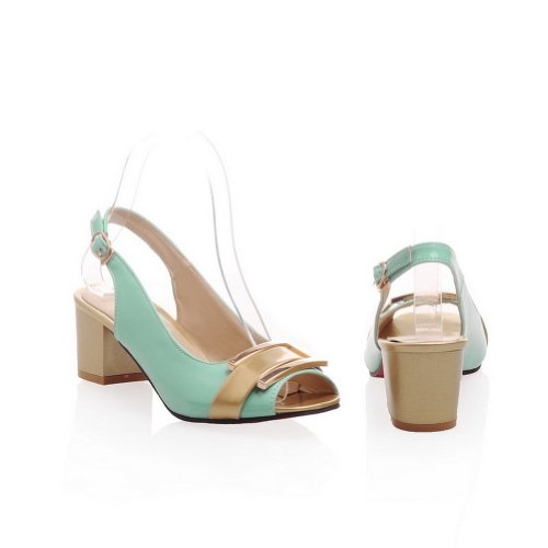 Amoonyfashion Donna Open Peep Toe Sandali Tacco Medio Con Colori Assortiti E Verde Metallizzato