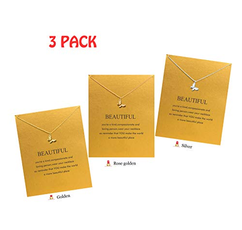 Hundred River Friendship Clover Necklace Unicorn Good Luck Elephant Necklace with Message Card Gift Card(2&3pack) (Butterfly 3)