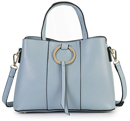 (MABEL LONDON Genuine Italian Soft Leather Medium Hobo Shopper Shoulder bag - LUMITRON [Light Blue])