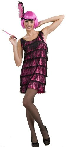 Black Flapper Adult Plus Costumes (Woman's Jazzy Flapper Costume, Pink/Black, X-Large)