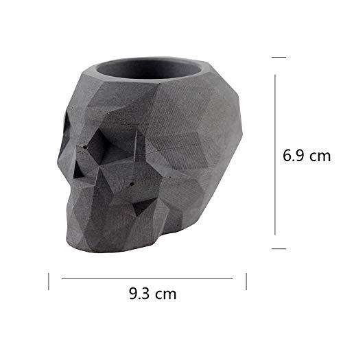 SaveStore Nicole Silicone Concrete Mold Skull Flowerpot Mould Polygon Skeleton Shape Handmade Craft Cement Halloween Planter Tool