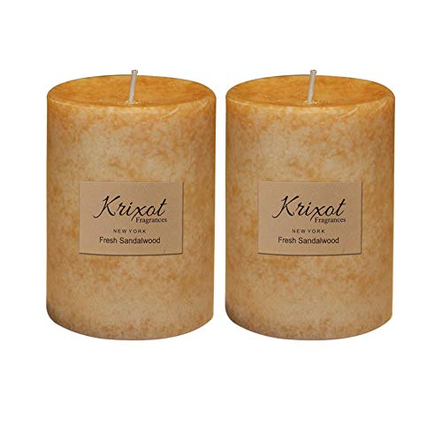 (KRIXOT Scented Pillar Candles Set of 2 | Fresh Sandalwood in Mottled Design Finish Size 3