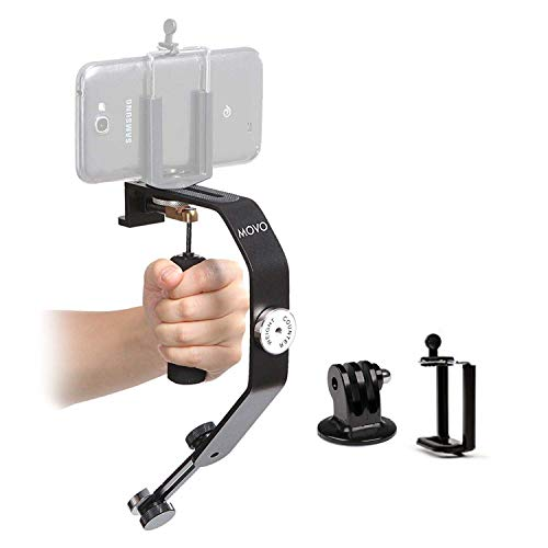 Movo Handheld Video Stabilizer System Compatible with GoPro Hero, HERO2, HERO3, HERO4, HERO5, HERO6, HERO7 & Apple iPhone 5, 5S, 6, 6S, 7, 8, X, XS, XS Max, Samsung Galaxy + Note Smartphones (Best Steadicam For Iphone)