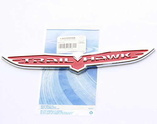 Yoaoo 1x OEM Trailhawk Emblem Trail Hawk Nameplate Badge for Cherokee Red Silver Wing