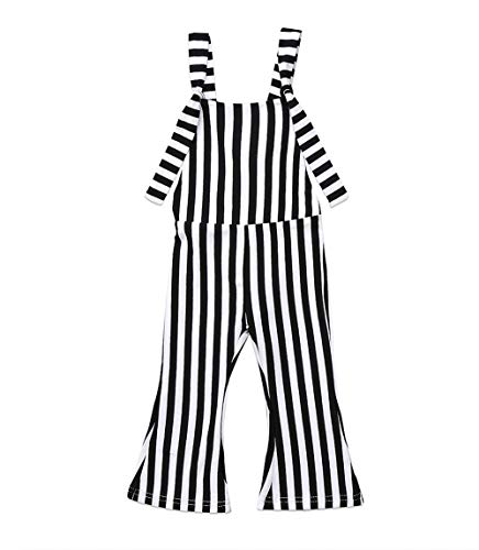 ZAXARRA Toddler Baby Girl Stripes Bell-Bottom Jumpsuit Romper Overalls Long Pants Outfits (4-5 Years, Black)