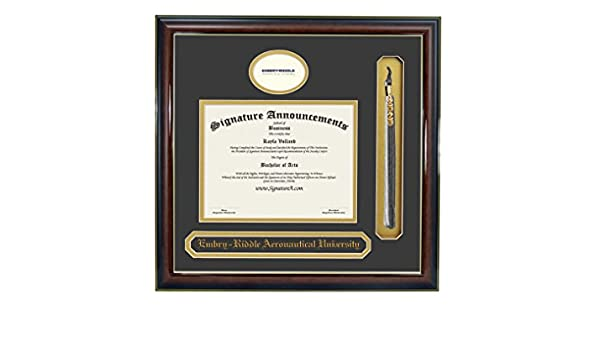 Name /& Tassel Graduation Diploma Frame 16 x 16 Gloss Mahogany with Gold Accent Signature Announcements Embry Riddle Aeronautical University Undergraduate Sculpted Foil Seal