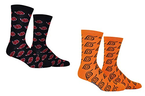 Naruto Shippuden Socks Women & Mens (2 Pair) - Akatsuki Naruto Crew Socks (1 Size) Women & Mens