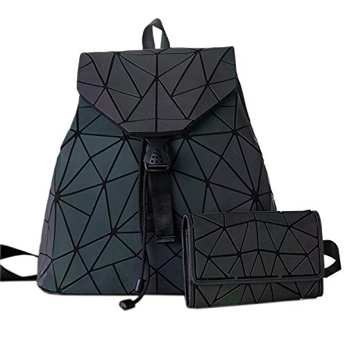 And 1 Quilted Wallet - HotOne Geometric Backpack Holographic Reflective Backpacks Fashion Backpack (No.4 + wallet 1 Set)