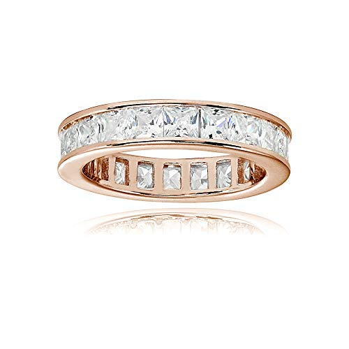 Rose Gold Flashed Sterling Silver Cubic Zirconia Princess-Cut 3mm Channel Set Polished Eternity Band Ring, Size 8 ()