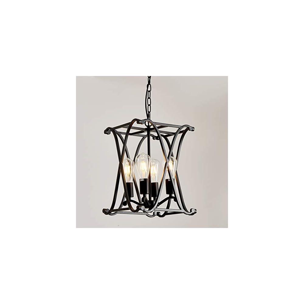 UOFUS 4 - Light Candle Chandelier Black Rustic Ceiling Light Fixture ,Adjustable Height 4-Light for Hallway Entryway…