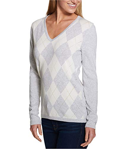 Tommy Hilfiger Womens Knit Argyle Pullover Sweater Gray XL